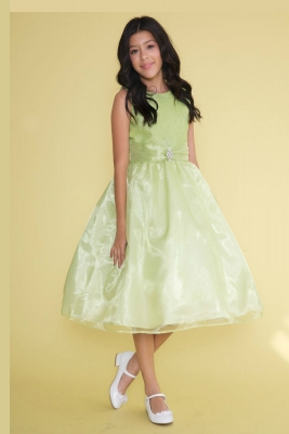 5b624b05ff7 Girls Dress Style KD3635 - Tea Length Satin and Organza Dress with Sequin  Bodice in Choice