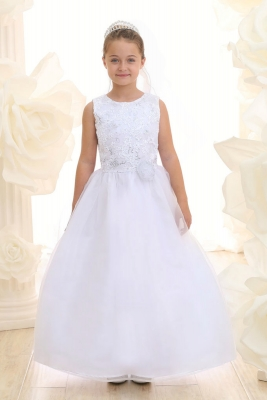 62843fc4a7b Girls Dress Style KD3637- WHITE Sleeveless Organza Dress with Ribbon and  Sequin