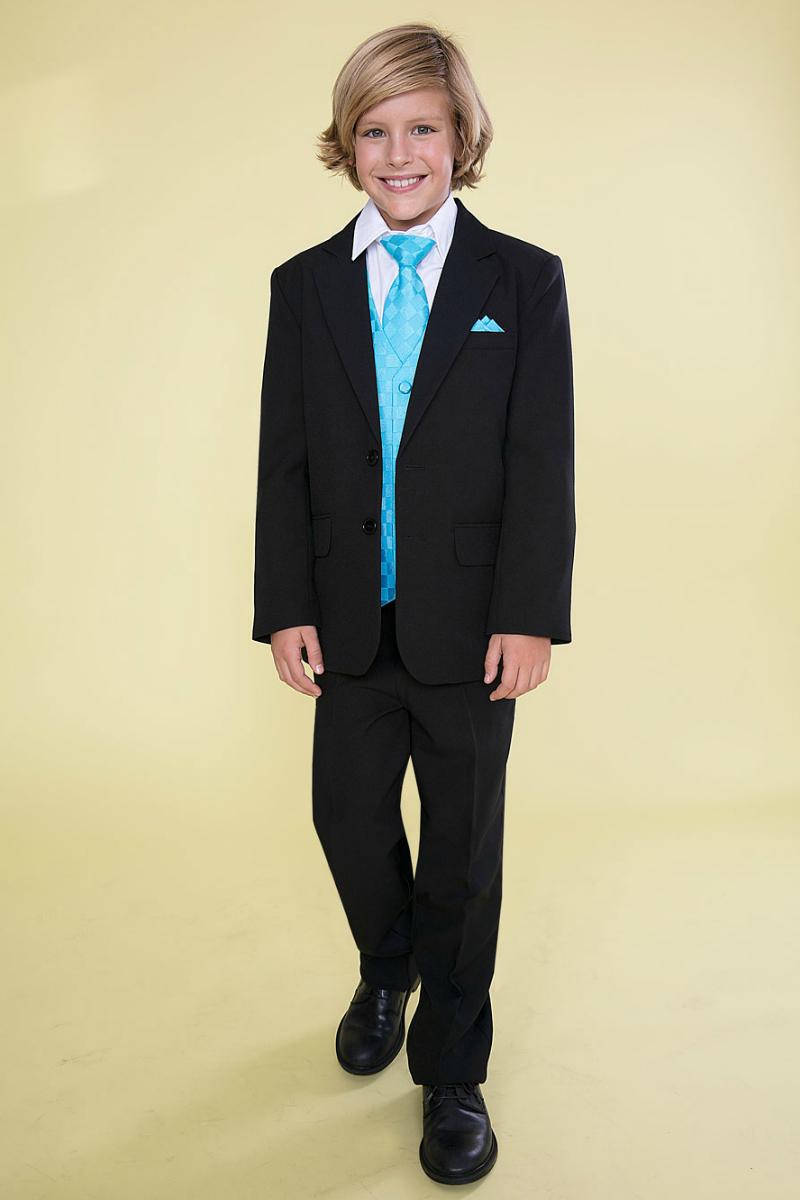 f7033a1083 Boys Suit Style 5007 - 5 piece Suit Set- Black Suit with Turquoise Vest