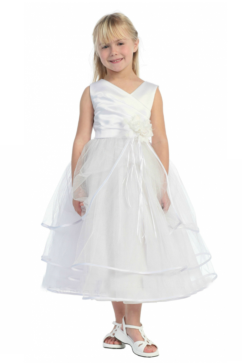 0f6159b50f5 Girls Dress Style 0127- Satin and Tulle Multi Tiered Dress In Choice of  Color