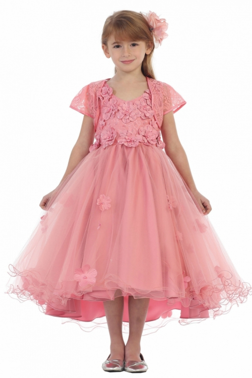 df25c243cf CB 1702RS - Girls Dress Style 1702- Floral Embellished High Low Dress in  Choice of Color - Sizes 7-16 - Flower Girl Dresses - Flower Girl Dress For  Less