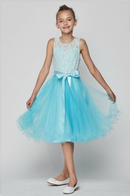 2998a372c59 Girls Dress Style 5002 - Sleeveless Lace and Tulle Dress with Curly Hem in  Choice of