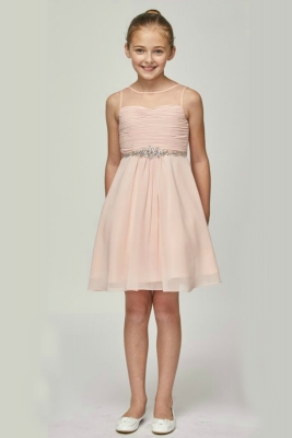 f4ff77d6f92 Girls Dress Style 5011 - Chiffon Dress with Rhinestone Accents in Choice of  Color