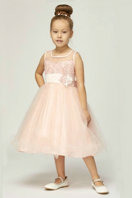 d6c27c1f092a Girls Dress Style 5015 - Satin and Tulle Dress with Floral Appliques in  Choice of Color