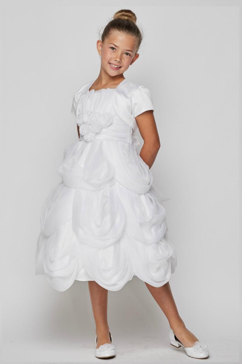 201fcc2ac2 Girls Dress Style 62406B-Choice of White or Ivory Organza Dress with Bolero
