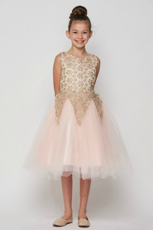 7d286135634 CC 9030BL - Girls Dress Style 9030 - Short Gold Embroidered Gown in Choice  of Color - Graduation Outfits - Flower Girl Dresses - Flower Girl Dress For  Less