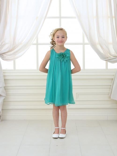 Girls Aqua Chiffon Dress