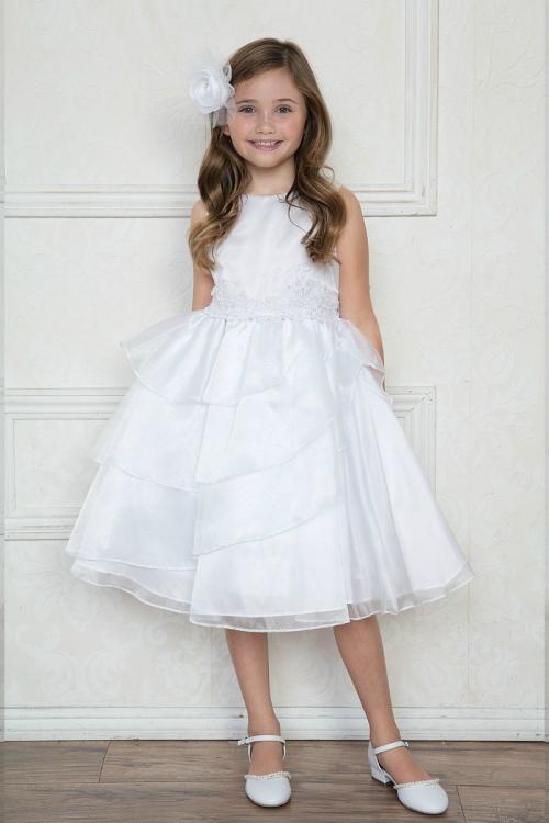 379f4b56187c CA D763W - Girls Dress Style D763 - WHITE Sleeveless Organza and ...