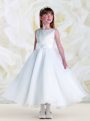 25a2e4646d872 Joan Calabrese Style 115310- White Satin and Organza Dress with Beading and  Pearl Bodice
