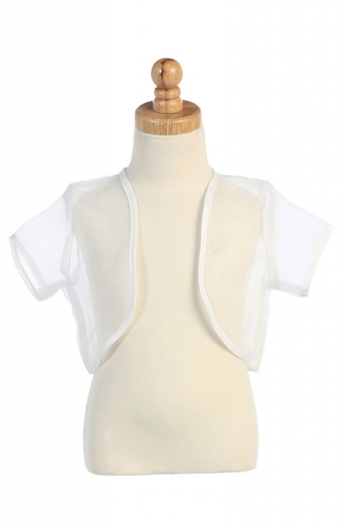 Size S Girls Ivory Sheer Organza Bolero Jacket 5-6X