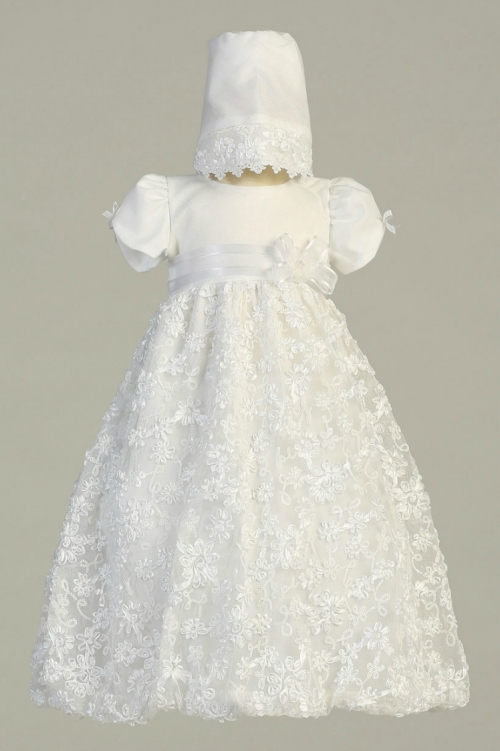 L_AMBER - Girls Baptism Christening Gown Style AMBER- WHITE Gown ...