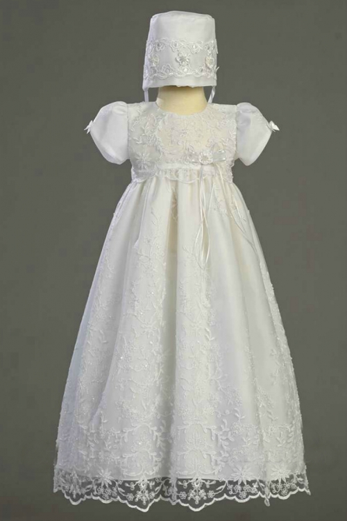 L_SOFIA - Girls Baptism-Christening Gown Style SOFIA - WHITE Beaded ...