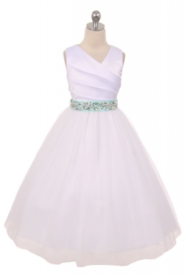 784f22a8026 Flower Girl Dress Style 276RH - White or Ivory Dress with MINT Rhinestone  Belt