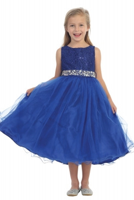 87ad9232aaf Girls Dress Style 340 - ROYAL BLUE Sparkly Tulle Dress with Beaded Waist