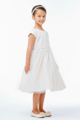 c881e0a81a0 Girls Dress Style 620 - Embroidered Cap Sleeve Dress in Choice of Color
