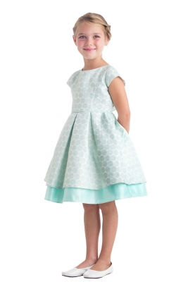 Spring and summer dresses flower girl dresses flower girl dress girls dress style 673 cap sleeve polka dot pleated jacquard dress in choice of color mightylinksfo