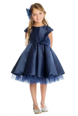 e3645f4ebf853 Girls Dress Style 711 - NAVY Cap Sleeved All Satin Dress with Peekaboo  Tulle Skirt