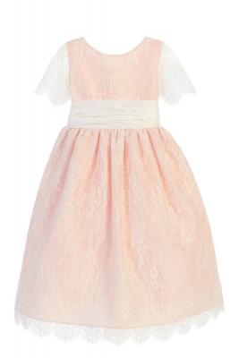 dd3dcef7c5672 Girls Dress Style 724 - Short Sleeved French Lace and Dupioni Dress in  Choice of Color