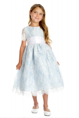New Flower Girls Satin White Blue Dress Pageant Gown Wedding Formal Jewels 5037