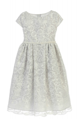 0a0e7faa65a4b Girls Dress Style 726 - Short Sleeved Luxe Embroidered Dress in Choice of  Color
