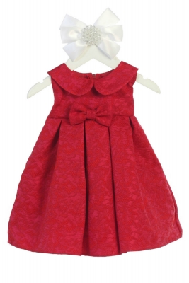 Crimson Red Knee Length Flower Girl Dress