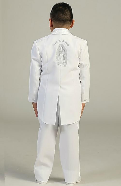 Boy/'s 5 Pc White Formal Suit  w Jacket Vest Shirt Tie First Communion Baptism