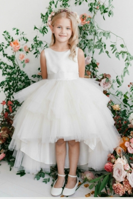 70d60e030a Girls Dress Style 5658 - Satin and Tulle High Low Dress In Choice of Color