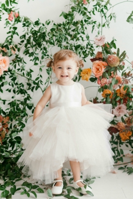 a1c1a4150179 Girls Dress Style 5658 - Satin and Tulle High Low Dress In Choice of Color