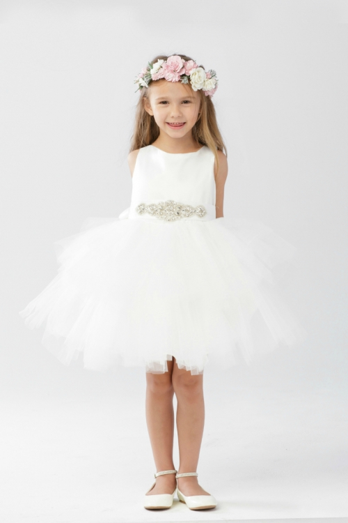d81aeed2a090 TT 5687IV - Girls Dress Style 5687- Short Satin and Tutu Tulle Dress ...