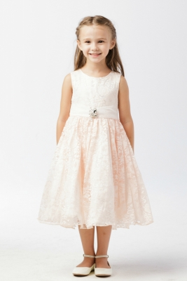 b0705090cf7 Girls Dress Style 5694 - BLUSH Sleeveless Floral Lace Dress with Brooch