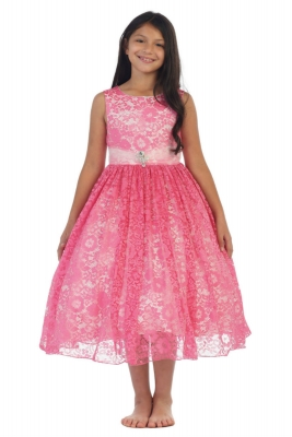 c177dfba63 Girls Dress Style 5694 - FUCHSIA Sleeveless Floral Lace Dress with Brooch