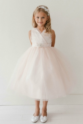 7885c71a4ad Girls Dress Style 5698 - BLUSH PINK Sparkly Tulle Dress with Matching  Rhinestone Sash