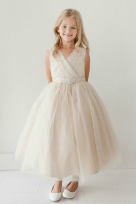 b4a2488c8df Girls Dress Style 5698 - CHAMPAGNE Sparkly Tulle Dress with Matching  Rhinestone Sash