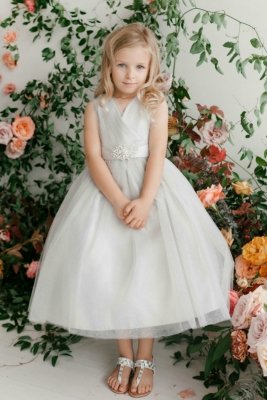 22cd8f784d5 Girls Dress Style 5698 - SILVER Sparkly Tulle Dress with Matching  Rhinestone Sash
