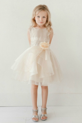 a137b551cd8 Girls Dress Style 5701 - CHAMPAGNE Crystal Beaded Organza Dress with  Layered Skirt