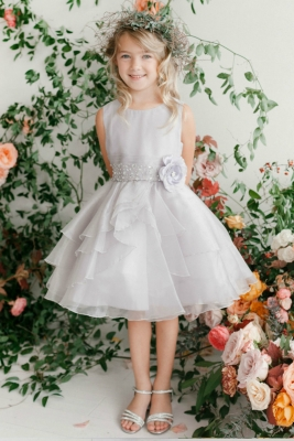 c182f6a2c2 Girls Dress Style 5701 - SILVER Crystal Beaded Organza Dress with Layered  Skirt