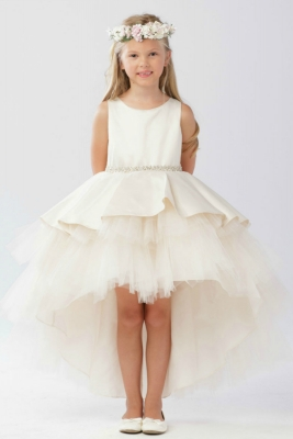 4713dfadd66 Girls Dress Style 5743 - Satin and Tulle High Low Dress In Choice of Color