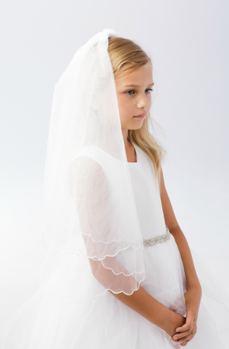 3pc Ivory Veil,Bag and Glove Set Ideal Holy Communion Bridesmaid//Flower Girl BN