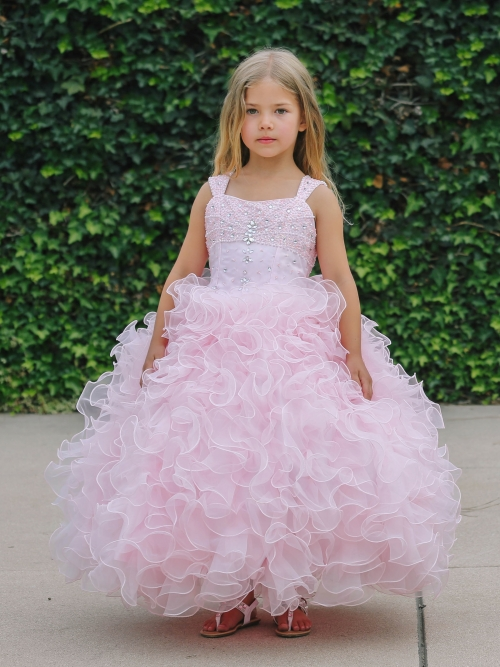 long ruffle organza dress
