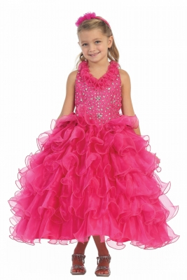 01355fe682d Fuchsia. Girls Dress Style 7006- Organza Halter Multi Tiered Dress with  Beaded Bodice in Choice of