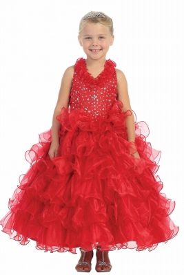 2d285a28361 Girls Dress Style 7006- Organza Halter Multi Tiered Dress with Beaded  Bodice in Choice of