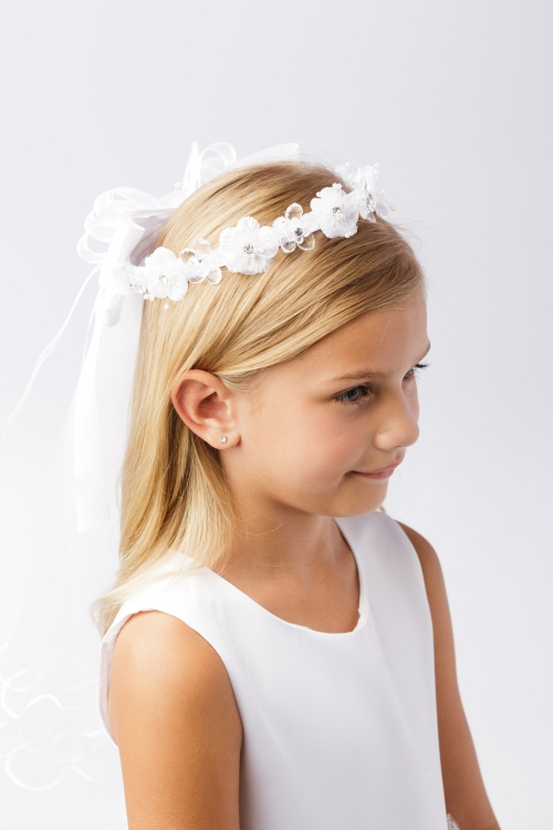 First Communion White Veil Tiara Flower Girls Princess Crown Cross