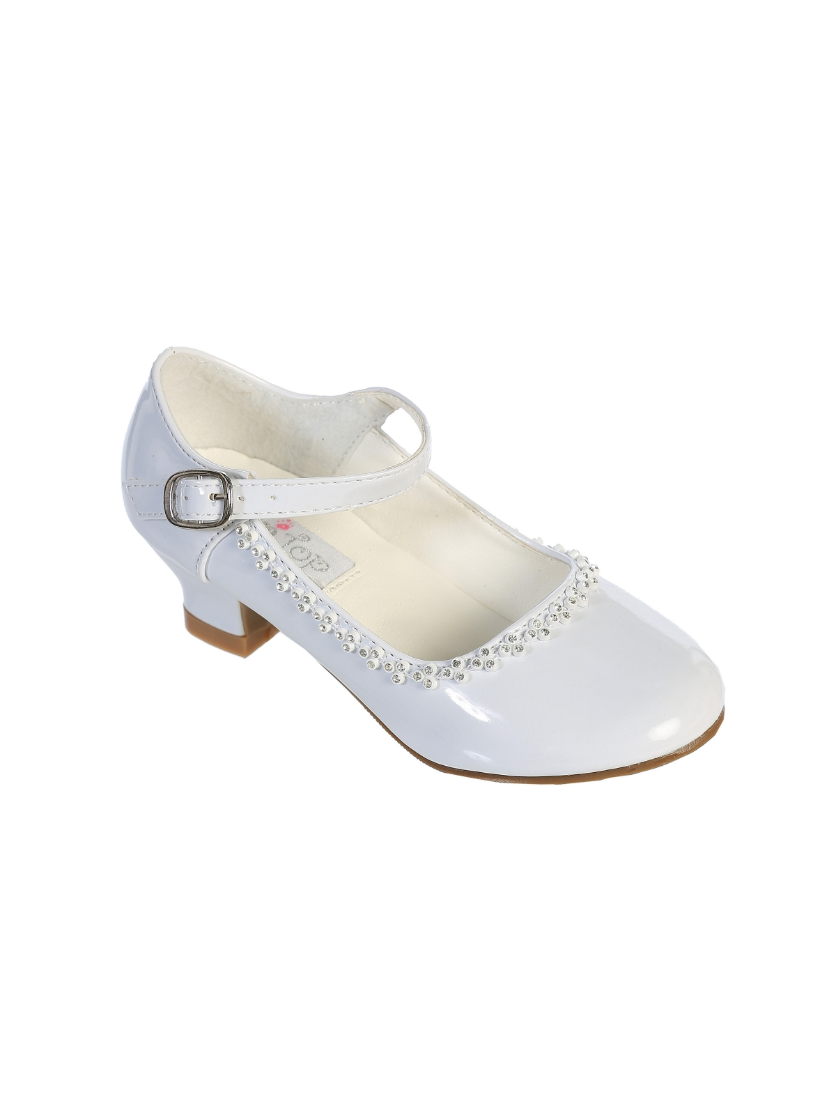 Shoes flower girl dresses flower girl dress for less flower girl shoe style s67 soft patent shoe with heel and rhinestone detailing in choice izmirmasajfo