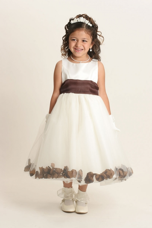 5cf34fd712a 152IBR - Flower Girl Dress Style 152-Choice of White or Ivory Dress with  Chocolate Brown Sash and Petals - Ivory Flower Girl Dresses - Flower Girl  Dresses ...