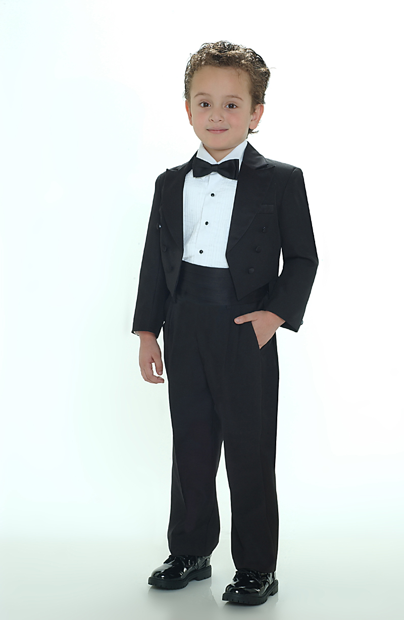 Tt 4001b Boys Tuxedo With Tails Black Color Tip Top