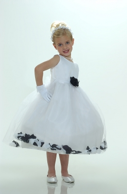 b63f59277a Flower Girl Petal Dress- White or Ivory Sleeveless Satin And Tulle Petal  Dress With Black