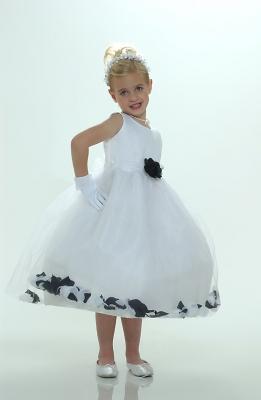 1cb911841f0 Flower Girl Petal Dress- White or Ivory Sleeveless Satin And Tulle Petal  Dress With Black