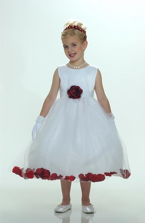 Fg5083bur flower girl petal dress white or ivory sleeveless flower girl petal dress white or ivory sleeveless satin and tulle petal dress with burgundy mightylinksfo