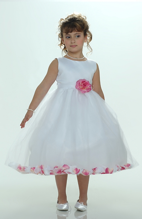 ff0ee419b3a MB 152-HP - Flower Girl Petal Dress- White or Ivory Sleeveless Satin And  Tulle Petal Dress With Hot Pink Petals - Sizes 1-6X - Flower Girl Dresses -  Flower ...