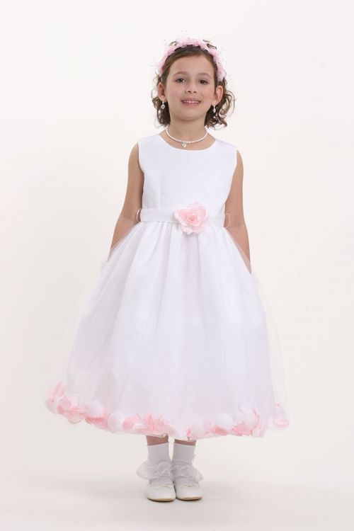 FG_5083LP - Flower Girl Petal Dress- White or Ivory Sleeveless ...